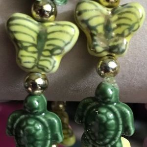 Jewelry - Ceramic Turtle & Butterfly Bead Stretch Bracelet